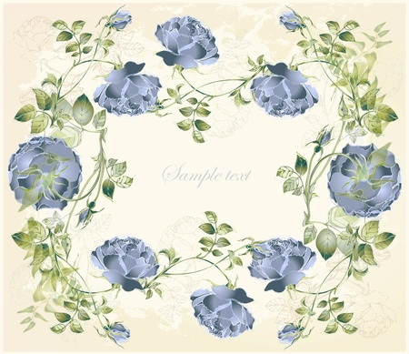 Greeting card with rose. Illustration  roses. Beautiful decorative framework with flowers. Stock Vector - 13462279