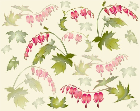 hanging flowers: Seamless background from a flowers ornament, fashionable modern wallpaper or textile.    Illustration  bleeding heart (Dicentra spectabilis).