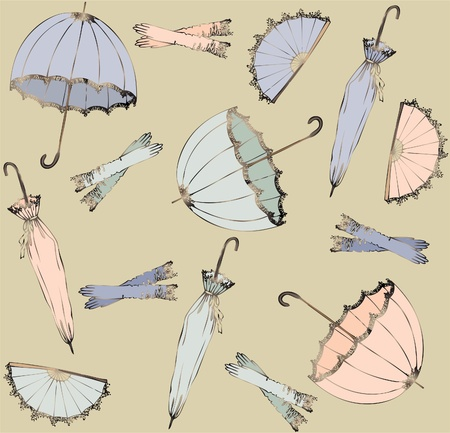 woman accessories: Illustration of vintage umbrella, fan, glove. Seamless background fashionable modern wallpaper or textile.