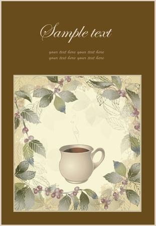 coffe tree: elegant coffee themed background illustration . Illustration of a coffee tree.Menu.