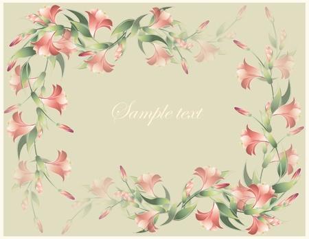 иллюстрировать: Поздравительная открытка с лилией. Лили иллюстрации. . Декоративные рамки с лилией.