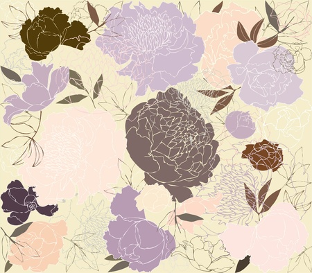 Seamless background from a flowers ornament, fashionable modern wallpaper or textile.    Illustration  peony. Illustration