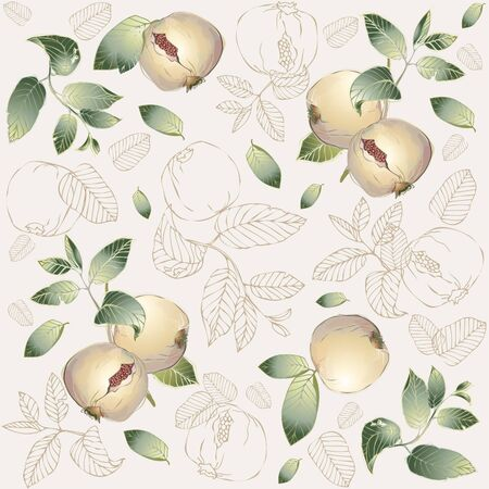 garnet: Seamless background. Illustration garnet tree.