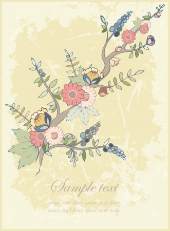 Greeting card with a blossoming tree.  Vector