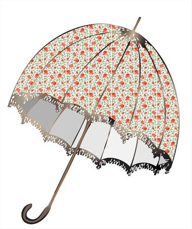 woman accessories: Illustration of vintage umbrella. Illustration