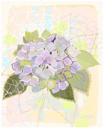 Greeting card with hydrangea.Illustration hydrangea.   Vector