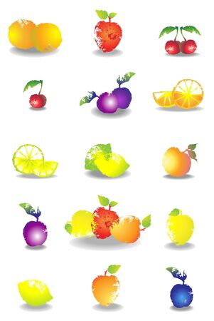 Icon set of various fruit and vegetables. Vector