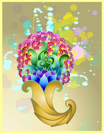 Golden horn of plenty with floral patterns. Vector