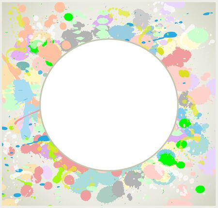 Greeting card with splashes and  drops. Decorative frame from drops and splashes. Vector