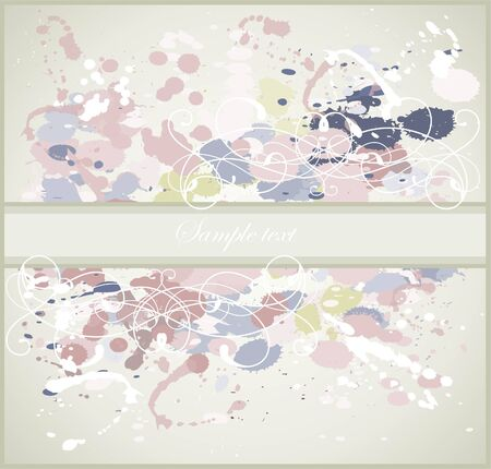 Greeting card with splashes, drops  and  vignette. Decorative frame from drops and splashes and vignette. Vector