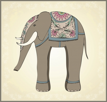 elephant nose: Greeting card with the Indian elephant.Illustration Indian elephant. Animal - elephant, vector.