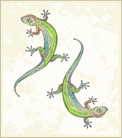 Illustration lizard. Greeting card with two gecko.  Animal – lizard, gecko, vector.