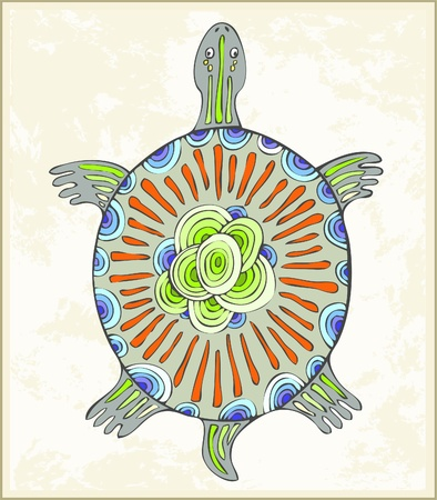 Abstract turtle symbol. Illustration a turtle in ethnic style. Vector