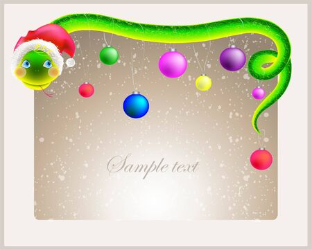 Cute snake  symbol of 2013 year  in Santa s hat  Greeting card with a snake in a hat santa  Vector