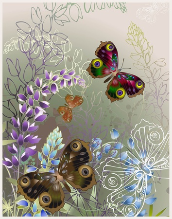 Greeting card with butterflies and flowers. Vector
