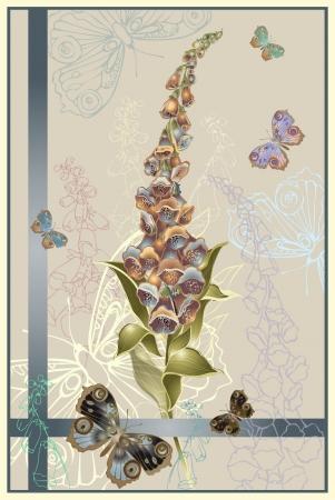 Greeting card with a foxglove end butterflies. Illustration  foxglove.