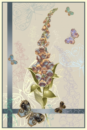 Greeting card with a foxglove end butterflies. Illustration  foxglove. Stock Vector - 17777107