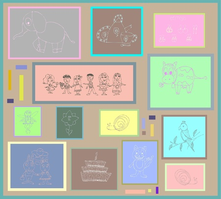 Element for design. Illustration of childrens drawings. Set of childrens illustrations. Vector