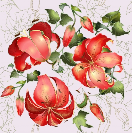 lily flowers: Seamless background from a flowers ornament, fashionable modern wallpaper or textile.Illustration ivy and  lily.