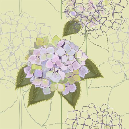 Seamless background. Hydrangea. Vector