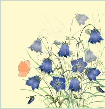 Vintage postcard with bluebell  flower. Vector