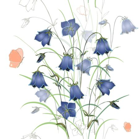 Seamless background. Illustration bluebell  flower. Vector