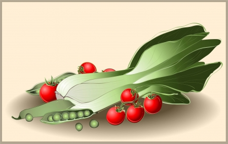 spinach: Illustration tomato, spinach, green peas. Set of greens and vegetables. Illustration