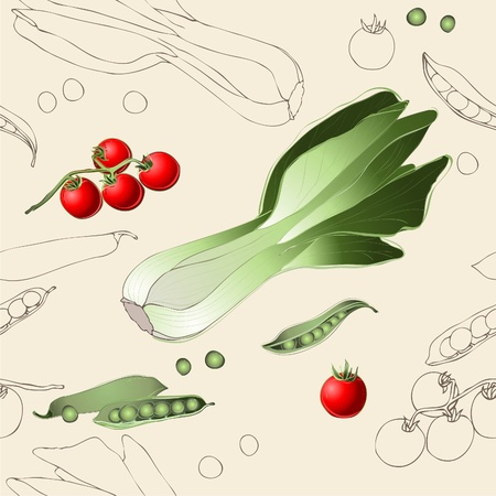 spinach: Seamless background. Illustration tomato, spinach, green peas.