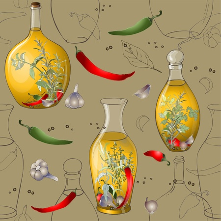 coriander: Seamless background.Illustration of spices, spicy herbs, olive oil.