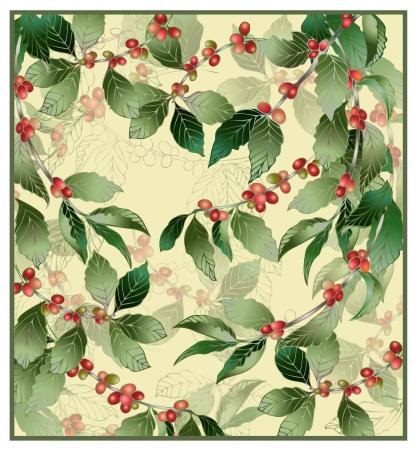 coffee tree: Illustration of a coffee tree.  Greeting card with coffe tree. Menu. Illustration