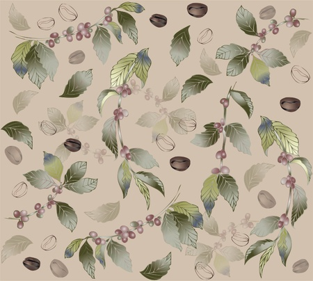 coffee tree: Seamless background with branches coffee tree, fashionable modern wallpaper or textile. Illustration of a coffee tree.     Illustration
