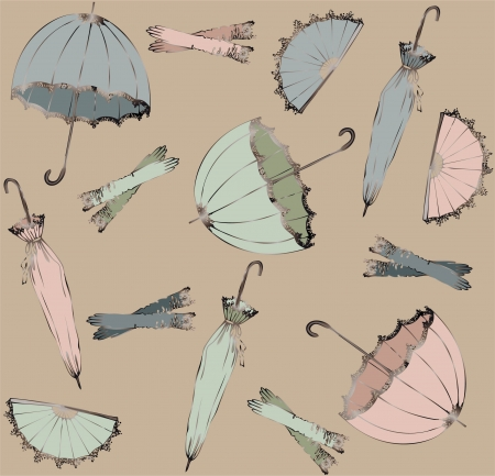 Illustration of vintage umbrella, fan, glove. Seamless background fashionable modern wallpaper or textile. Vector