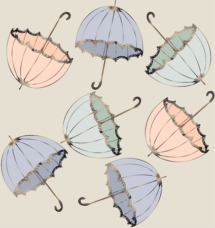 oldfield: Illustration of vintage umbrella. Seamless background fashionable modern wallpaper or textile.