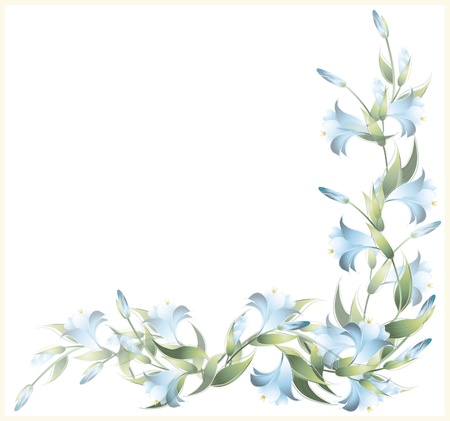 Greeting card with a lily. Lily illustration.  Decorative framework with a lily.