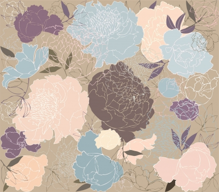 Seamless background from a flowers ornament, fashionable modern wallpaper or textile.    Illustration  peony Vector