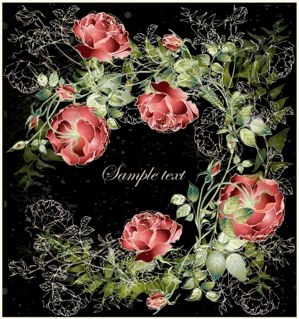 Greeting card with rose. Illustration  roses. Beautiful decorative framework with flowers. Vector