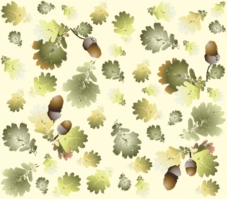 Autumn seamless background. Illustration  acorns. Vector