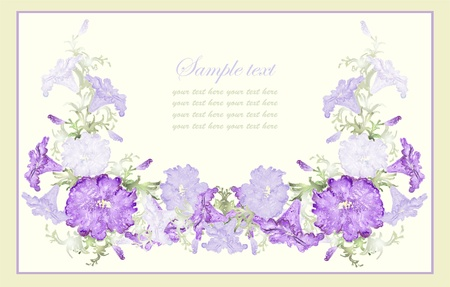 Greeting card with petunia . Beautiful decorative framework with flowers. Vector