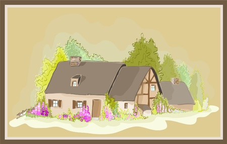 Illustration little  house. Illustration of the farmhouse. Vector