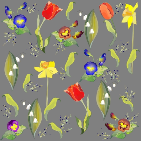 Seamless background.Illustration tulip and lily of the valley and daffodil and pansies. Vector