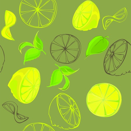 Lemon seamless background.  Vector