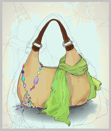 costume jewelry:  Illustration of a scarf, bag and costume jewelry.