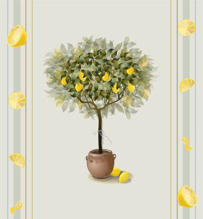 citrus tree: Lim�n fondo sin fisuras. Vectores