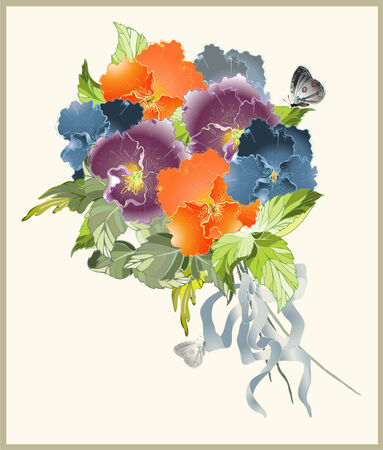 pansies: Greeting card with a bouquet of pansies. Illustration