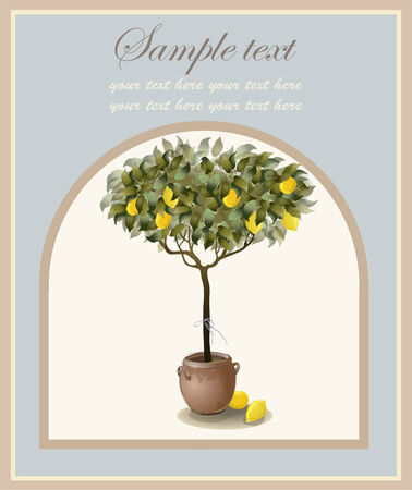 lemon tree: Tree illustration with lemon fruits. Menu.