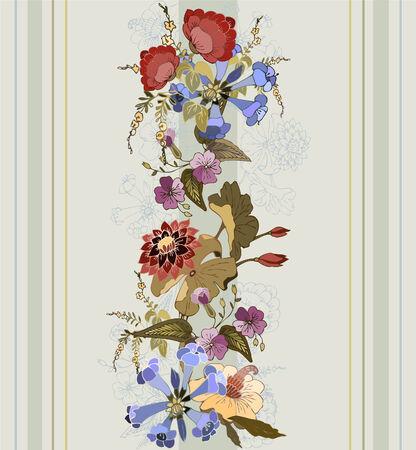 Naadloze achtergrond uit bloemen ornament, modieus modern wallpaper of textiel