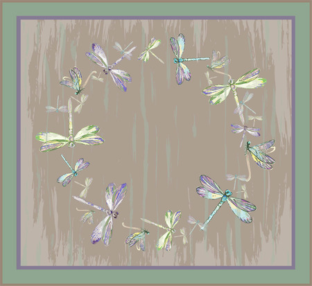whiff: Beautiful decorative framework with dragonfly. Greeting card with dragonfly.