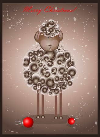 sheperd: Greeting card with sheep. Traditional Chinese symbol of the New Year.