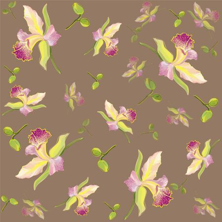 orchid branch: Seamless background from a flowers ornament, fashionable modern wallpaper or                textile. Retro floral background. Orchid.