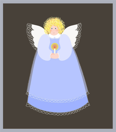 aureole: Christmas angel with a candle. Illustration